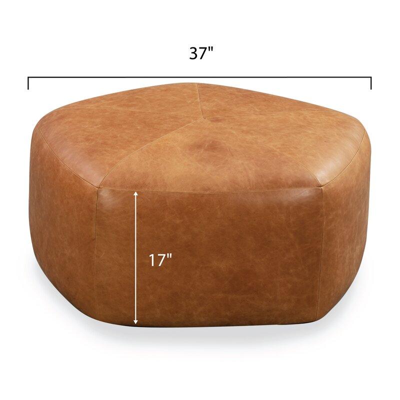 Rowley Leather Pouf - Cognac Tan