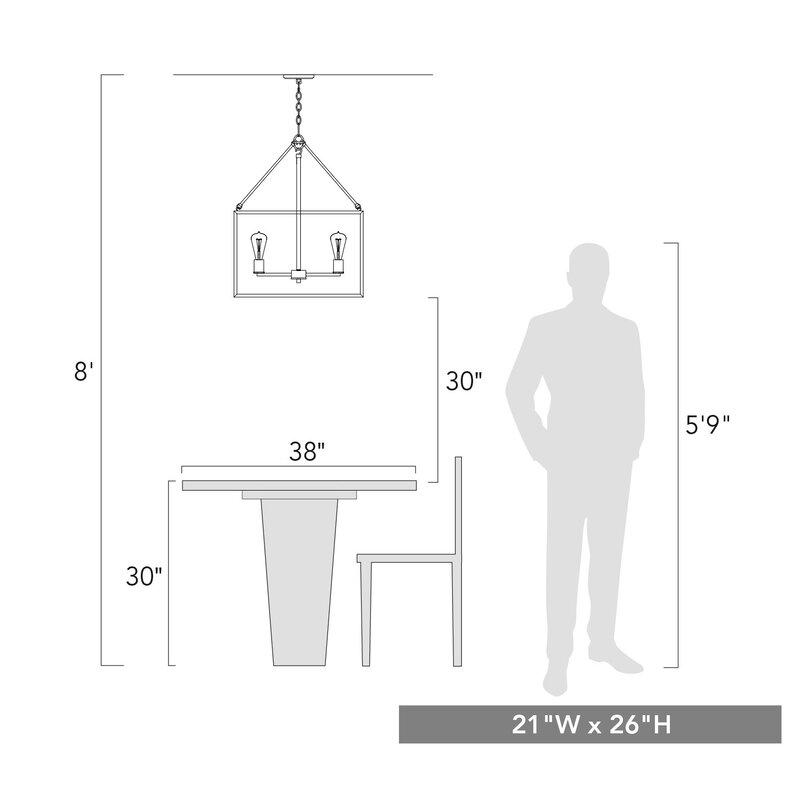 Zabel 4 - Light Lantern Square / Rectangle Pendant