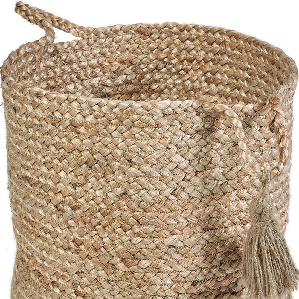 "Natural Jute Decorative Storage Basket, Browns/Tans - 17""h"