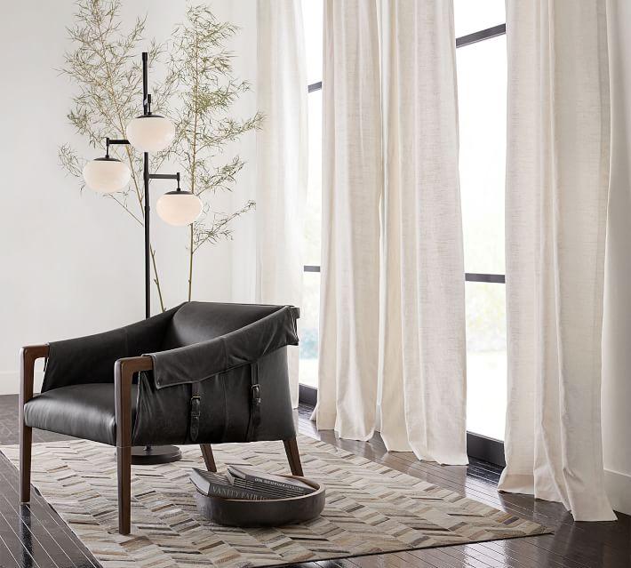 "Emery Linen Poletop Drape, 50 x 96"", White,Cotton Lining"