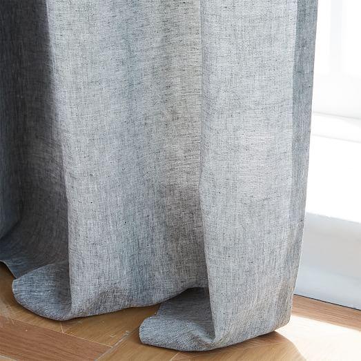 Semi-Sheer Belgian Flax Linen Melange Curtain - Slate, unlined