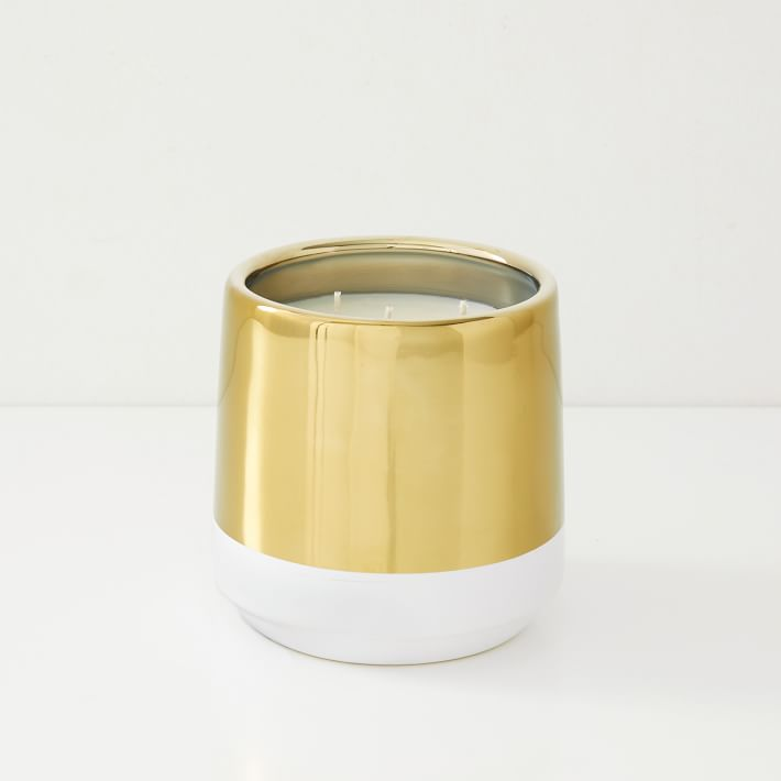 White + Gold Candle, Medium