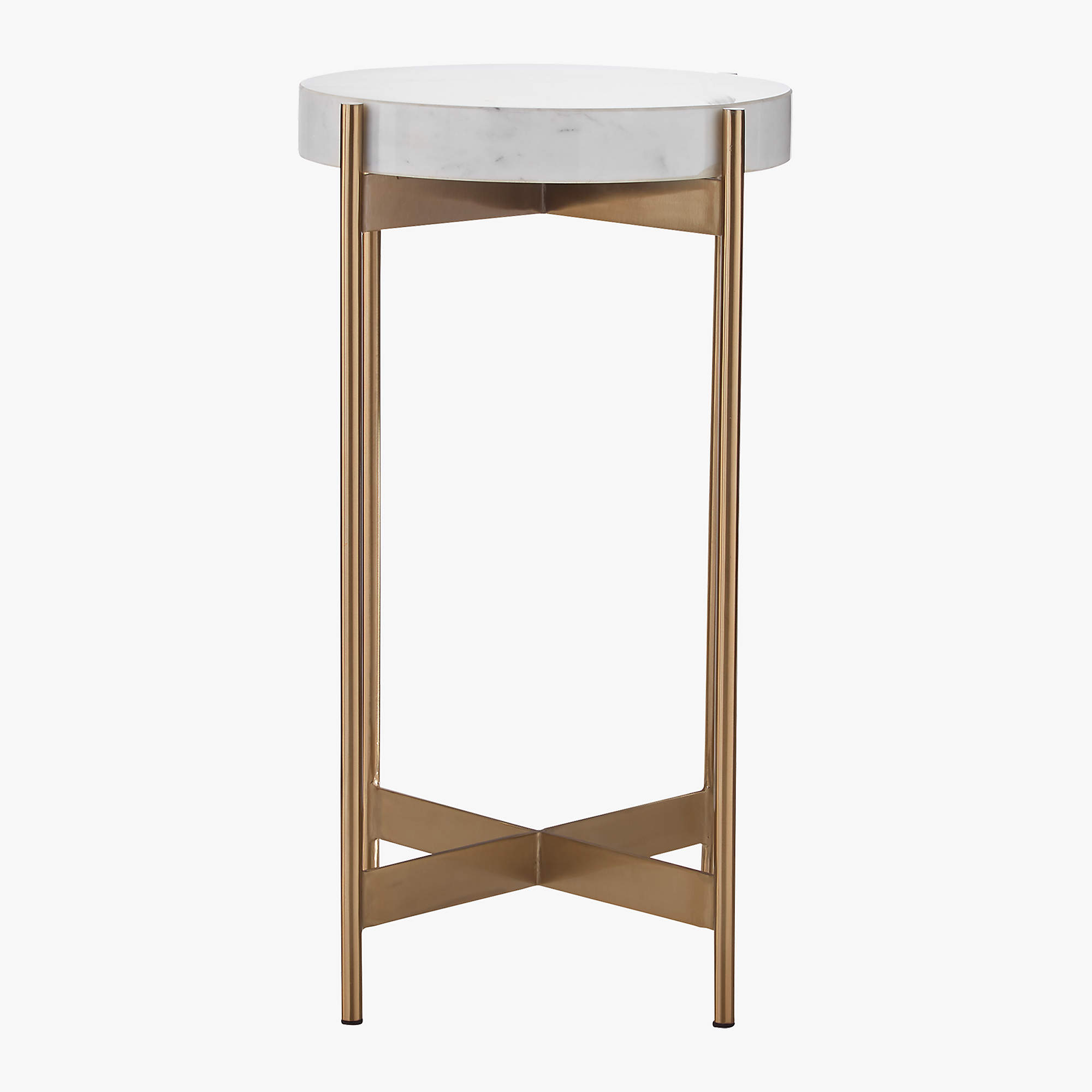 Block White Marble Pedestal Table
