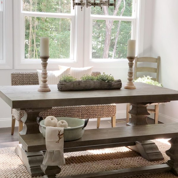 """Banks Extending Dining Table, Large 92"""" - 128"""" L, Grey Wash"""