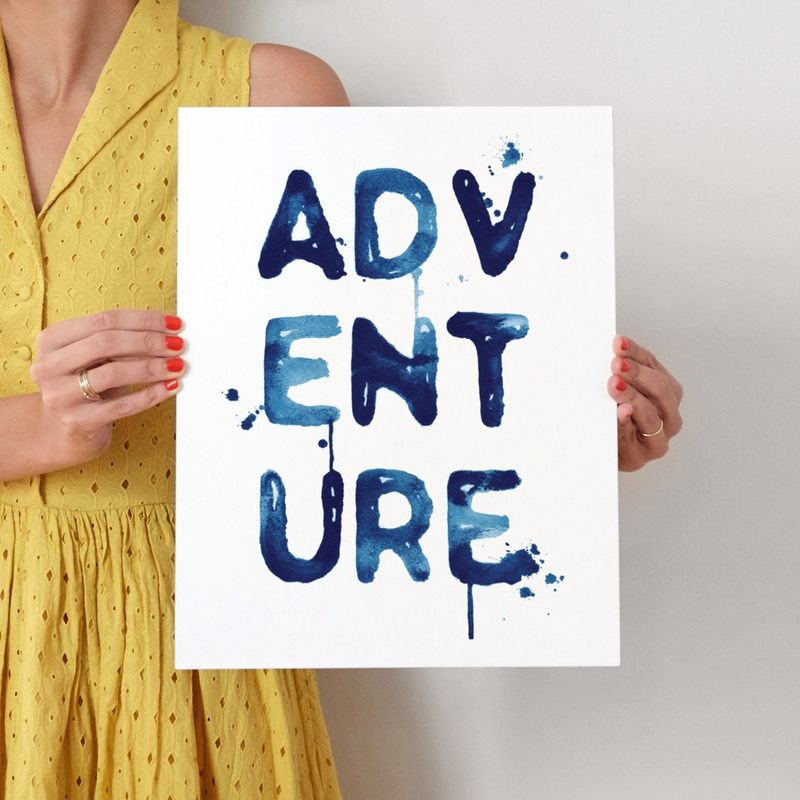 adventure  LIMITED EDITION ART - 11x14 Blue with White Border and White Wood Frame