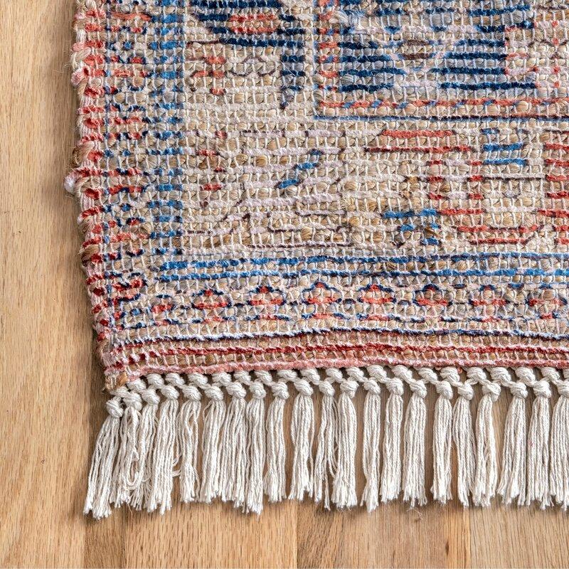 Mkhitar Oriental Handmade Flatweave Blue/Orange Area Rug