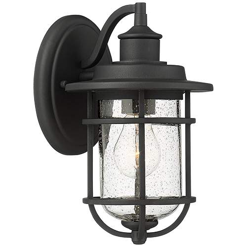 """Markham 10 1/2""""H Textured Black Outdoor Wall Lights Set of 2 - Style # 63M63"""