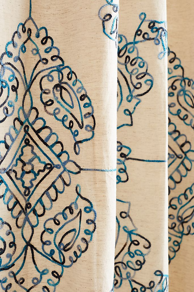 "Embroidered Gretta Curtain, 84"""