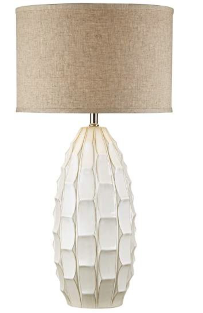 Cosgrove Oval White Ceramic Table Lamp with USB Workstation Base - Style # 68V64