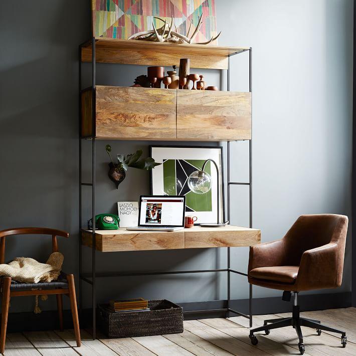 Helvetica Desk Chair, Antique Bronze, Leather, Molasses