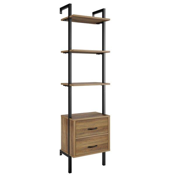 "Sikeston 72.4"" H x 18.9"" W Metal Ladder Bookcase with Bins"