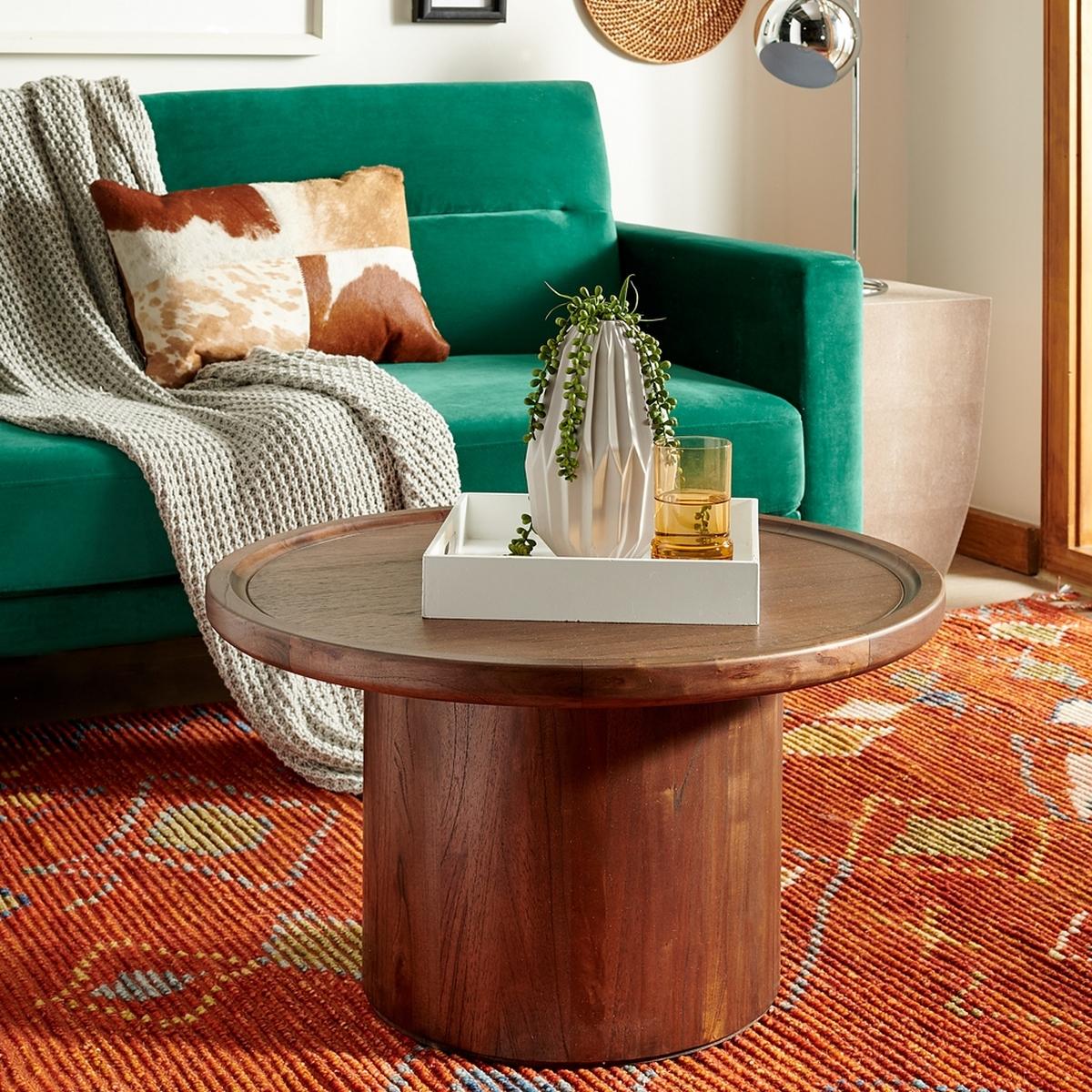Devin Round Pedestal Coffee Table - Dark Brown - Arlo Home