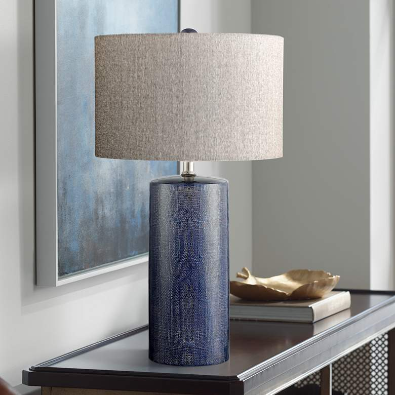 Lite Source Jacoby Navy Blue Ceramic Table Lamp - Style # 33T79