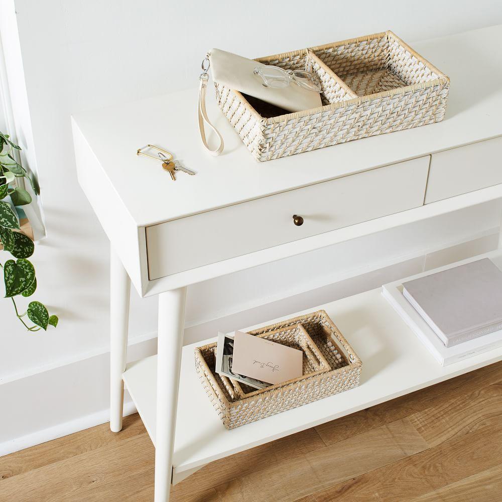 Modern Weave Basket w/ Divider, Whitewashed