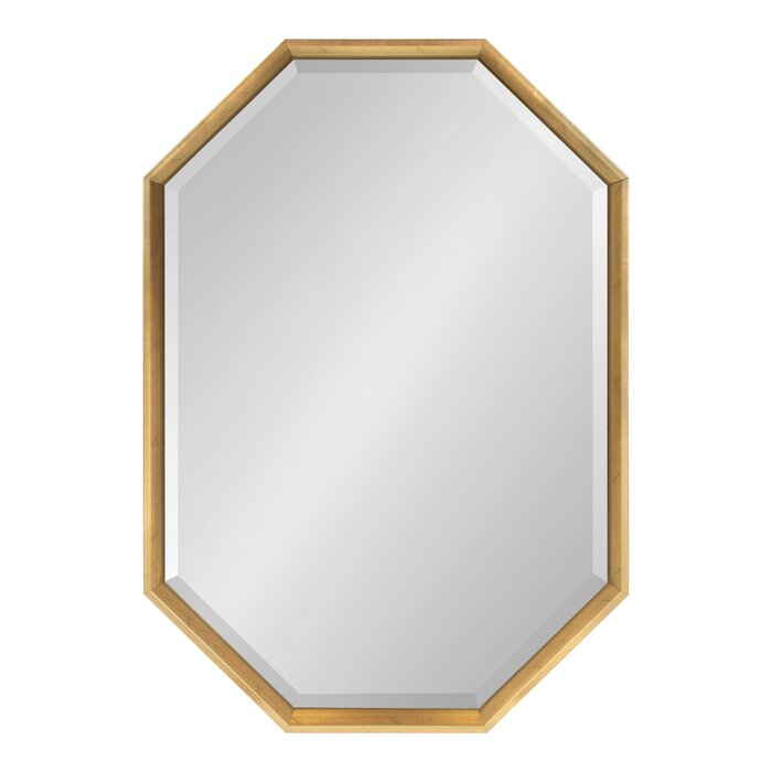 Gatsby Elongated Octagon Modern Beveled Accent Mirror in Gold