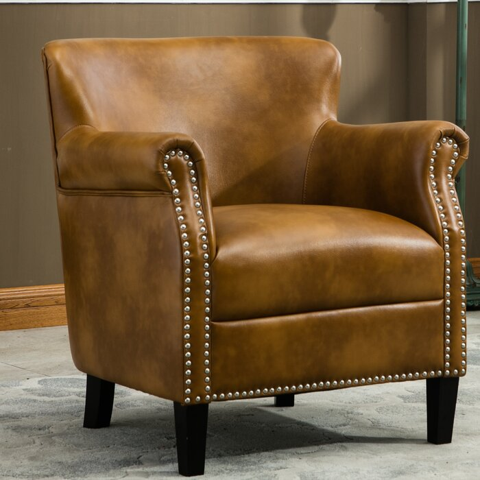 "Gail 29.5"" W Faux Leather Armchair"