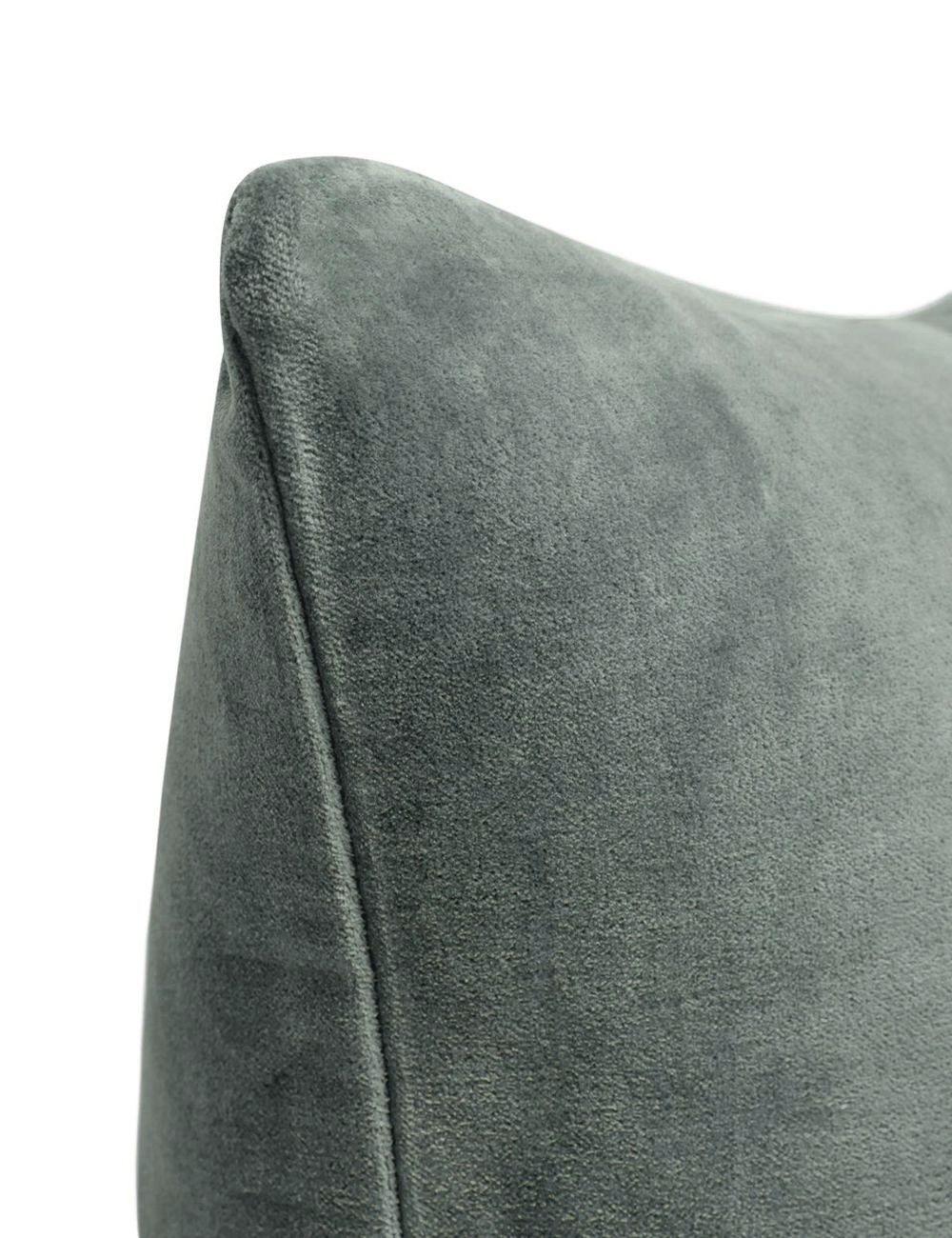Charlotte Velvet Lumbar Pillow, Shale Blue