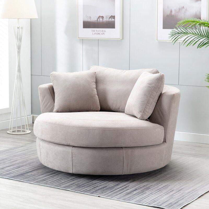 Minorca Elegant Round Swivel 53'' Barrel Chair