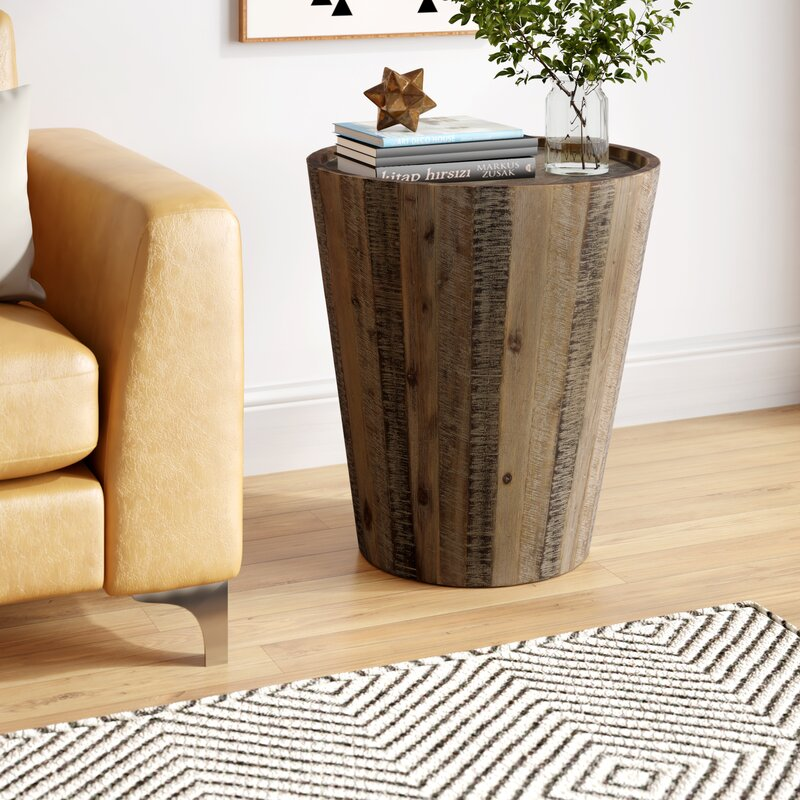Limones Solid Wood Tray Top Drum End Table