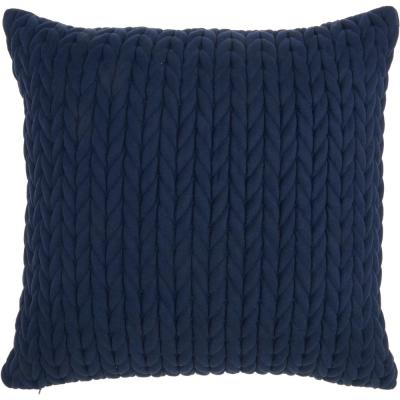 Mina Victory Life Styles Navy Blue 18 in. x18 in. Square Quilted Chevron Polyester Suede Throw Pillow