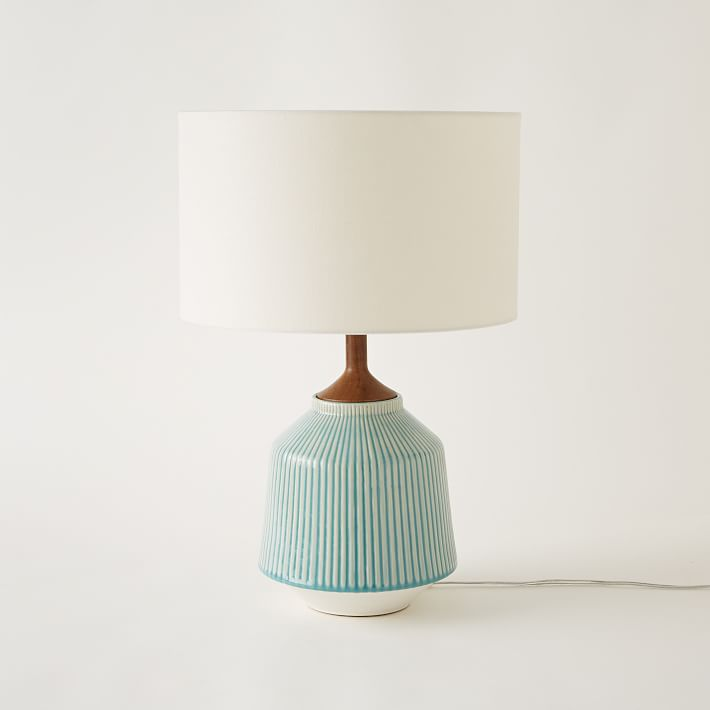 Roar + Rabbit Ripple Ceramic Table Lamp, Large, Turquoise... By West Elm    Havenly