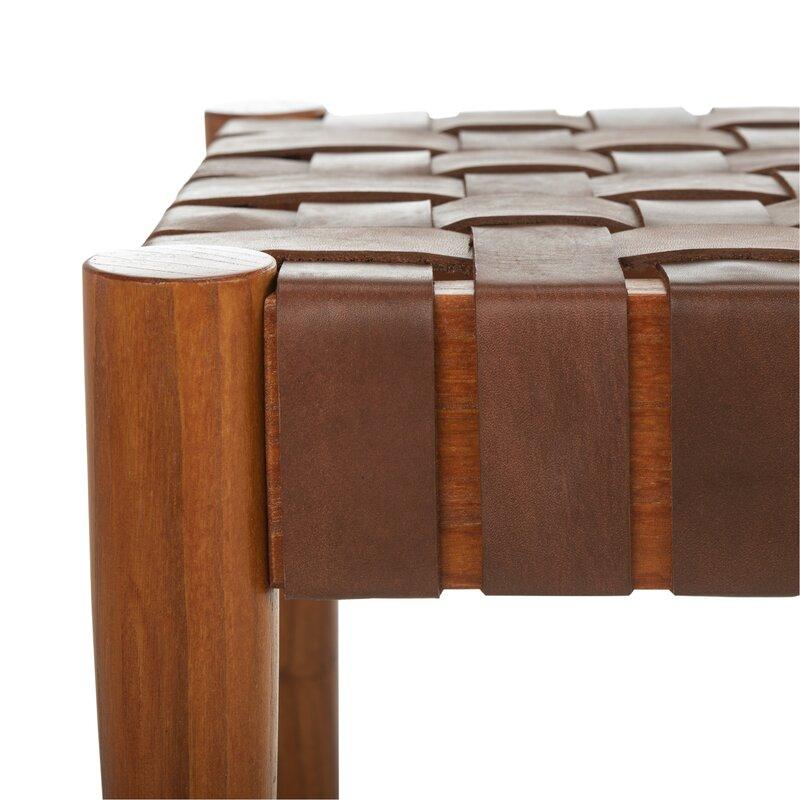 Benning Genuine Leather Bench - Cognac Leather/Dark Brown