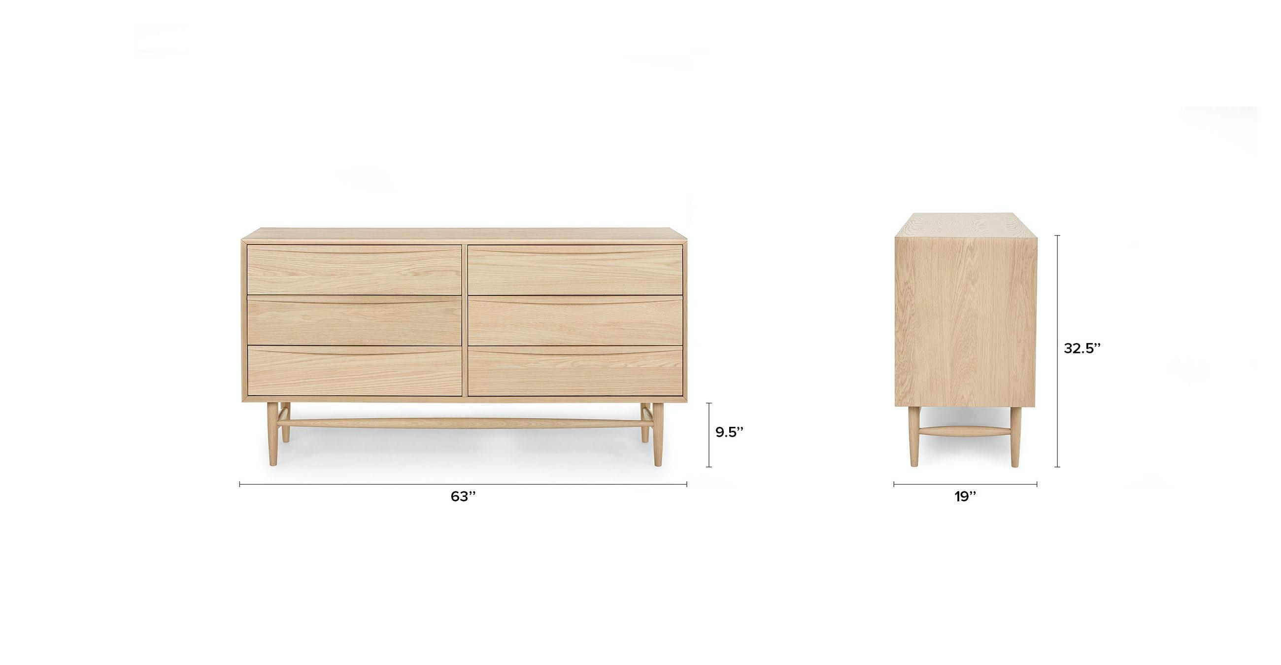 Lenia White Oak 6 Drawer Double Dresser