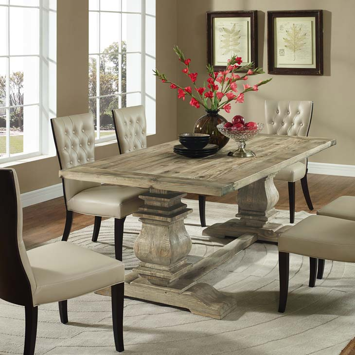 COLUMN RECTANGLE WOOD DINING TABLE IN BROWN