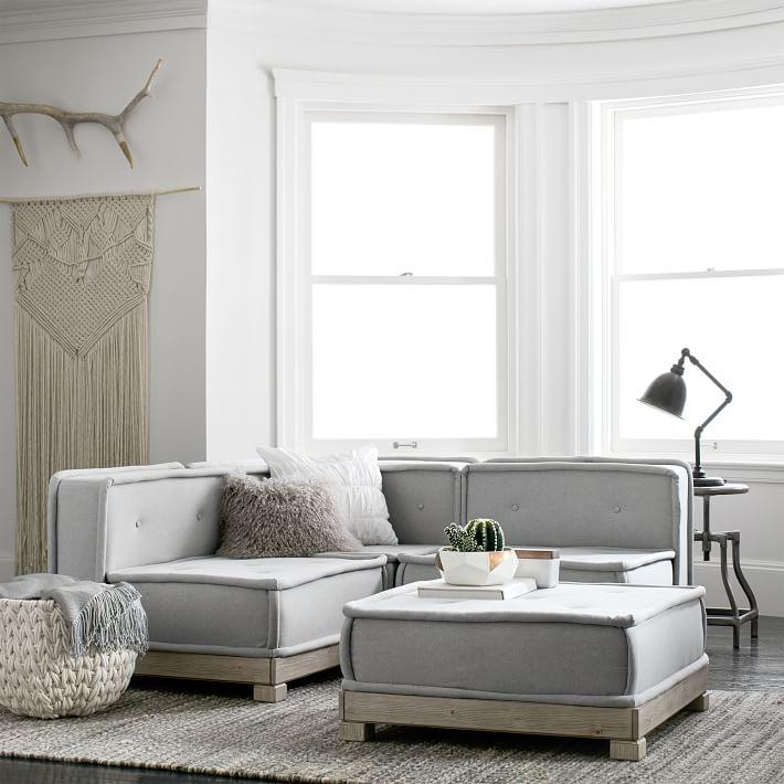 Cushy Lounge Super Sectional Set, Light Gray Faux-Suede, QS EXEL