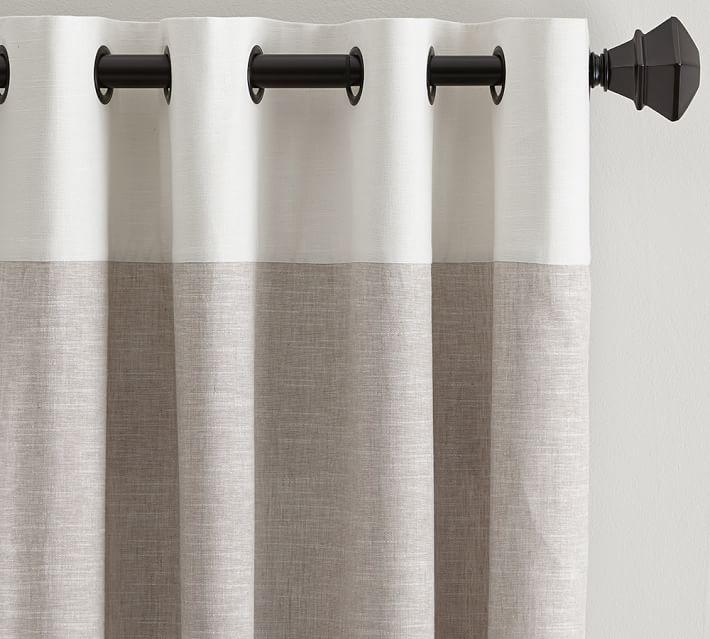 """Emery Border Linen Drape, 50 x 84"""", Oatmeal/Ivory"""
