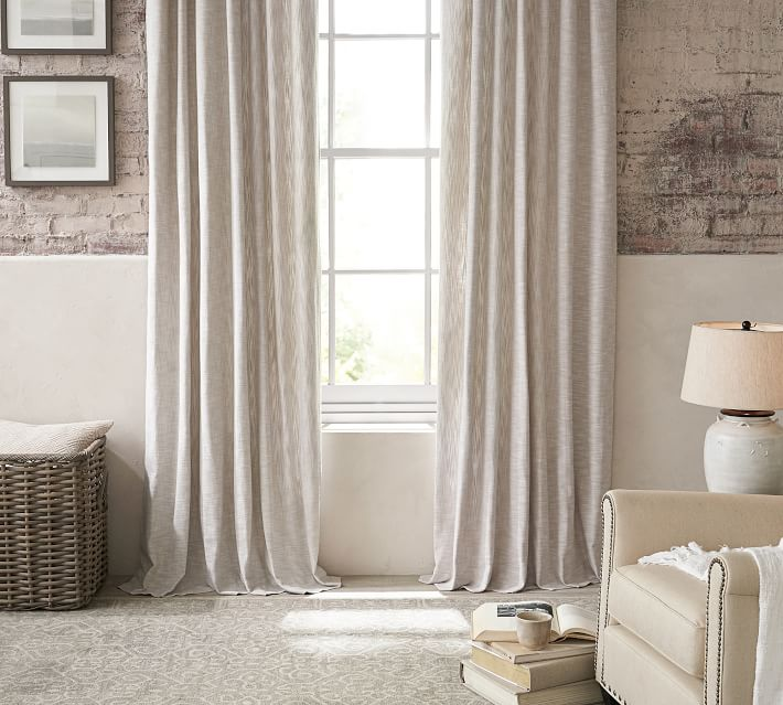 "Seaton Textured Cotton Rod Pocket Curtain, cotton lining, 100 x 84"", Neutral"