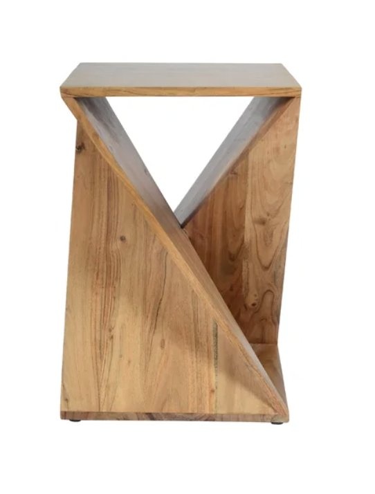 Leilla Solid Wood Abstract End Table - back in stock Mar. 4
