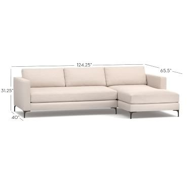 Jake Upholstered Left Arm Sofa with Chaise Sectional with Bronze Legs, Polyester Wrapped Cushions, Brushed Crossweave Navy