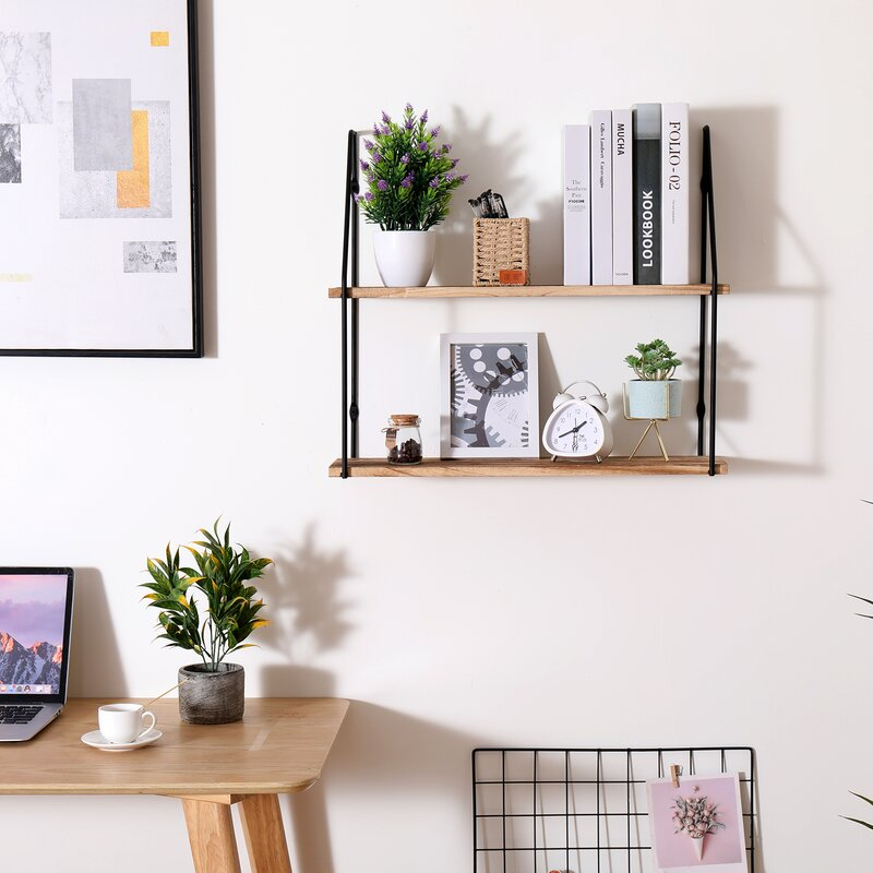 2 Tier Floating Shelves For Bedroom Wall Decor, Small Bookshelf For Living Room, Office, Kitchen, Natural Burned Rustic Wood Wall Shelf With Metal Brackets