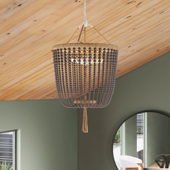 Latifa 3 - Light Unique / Statement Empire Chandelier with Beaded Accents