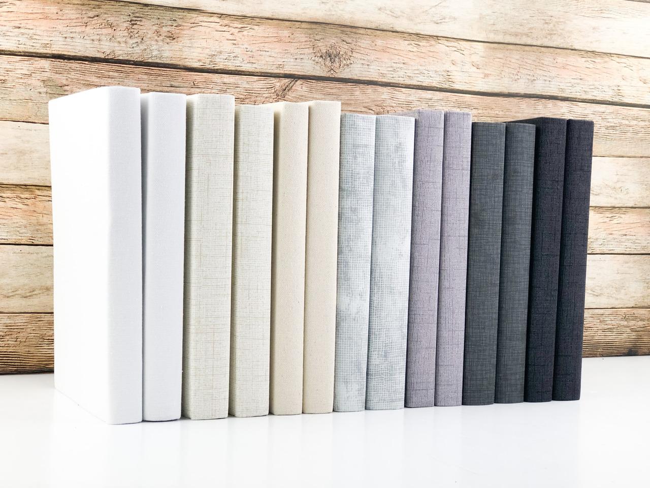 Set of 5 Decorative Books- Textured Light Gray