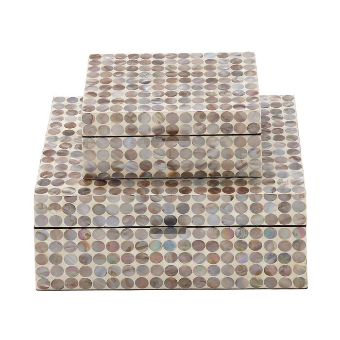 Chichica Mother Of Pearl Inlay 2 Piece Decorative Box Set