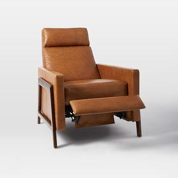 Spencer Wood Framed Recliner, Nut, Saddle Leather