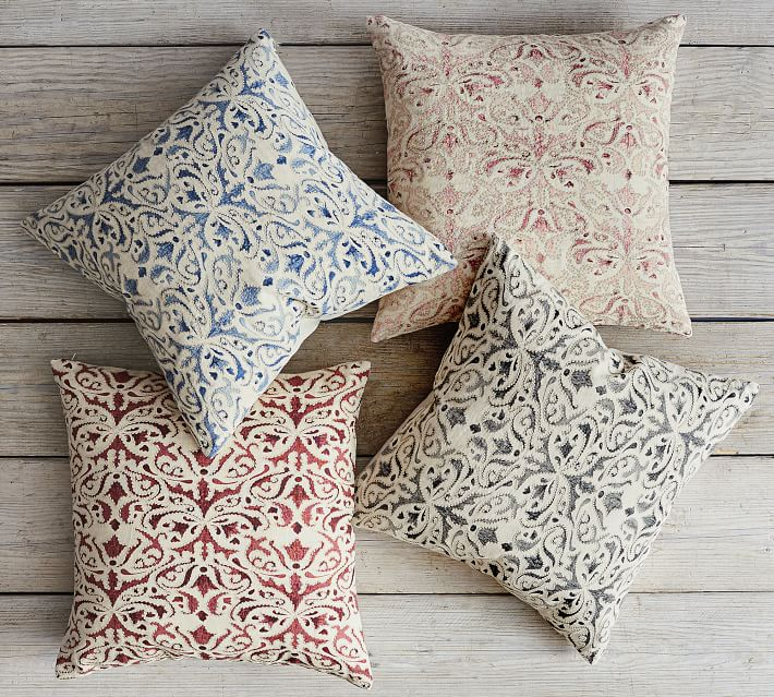 """Reilley Embroidered Pillow Cover, 22"""", Blue"""