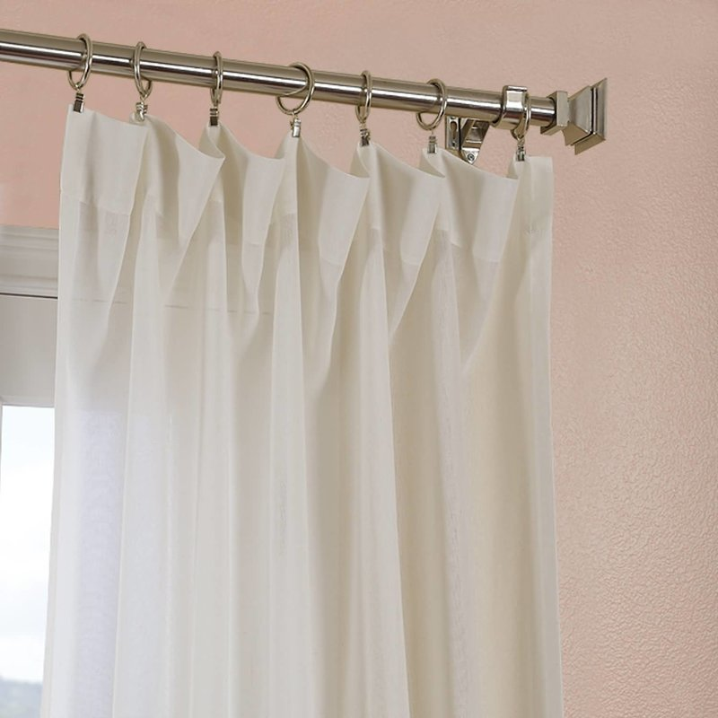 Cris Solid Sheer Rod Pocket Single Curtain Panel