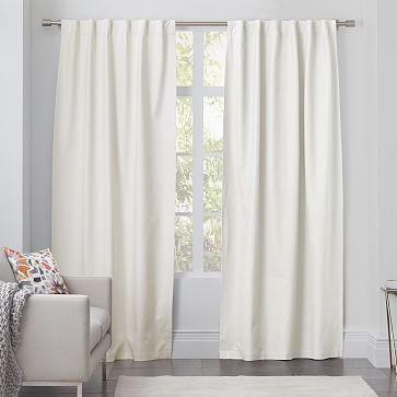 "Linen Cotton Pole Pocket Curtain + Blackout Panel, White, 48""x96"""