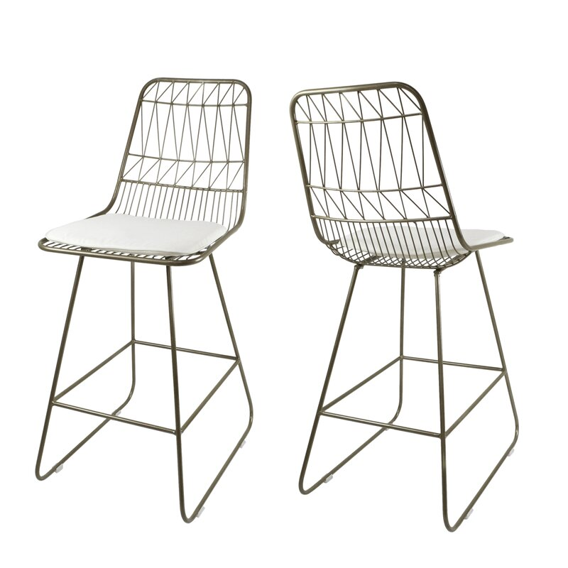 "Dunlop Modern Geometric 26.25"" Counter Stool - Set of 2"