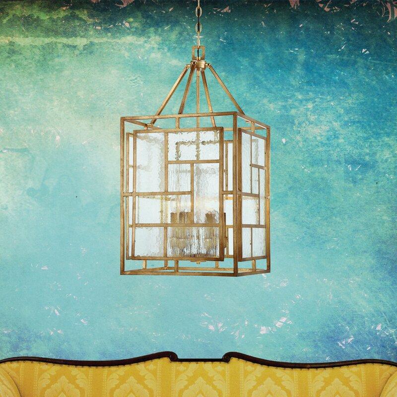 "Edgemont Park 6 - Light Lantern Rectangle Chandelier - 18""W"