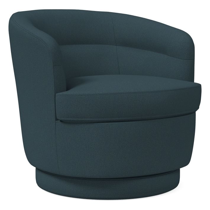 Viv Swivel Chair, Twill, Teal, Concealed Supports