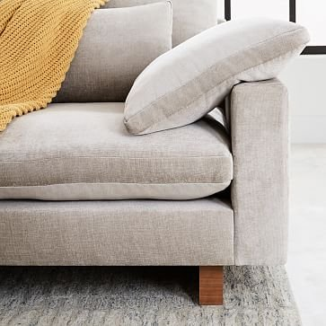 Harmony Set 2, Right Arm 2.5 Seater Sofa, Left Arm Chaise, Distressed Velvet, Light Taupe