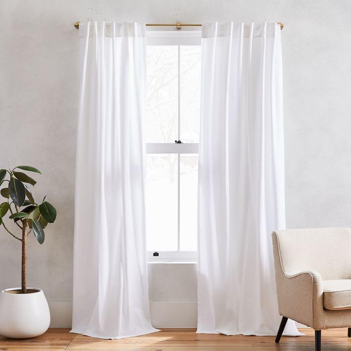 "Cotton Canvas Pole Pocket Curtain, 48""x108"", White - Set of 2"