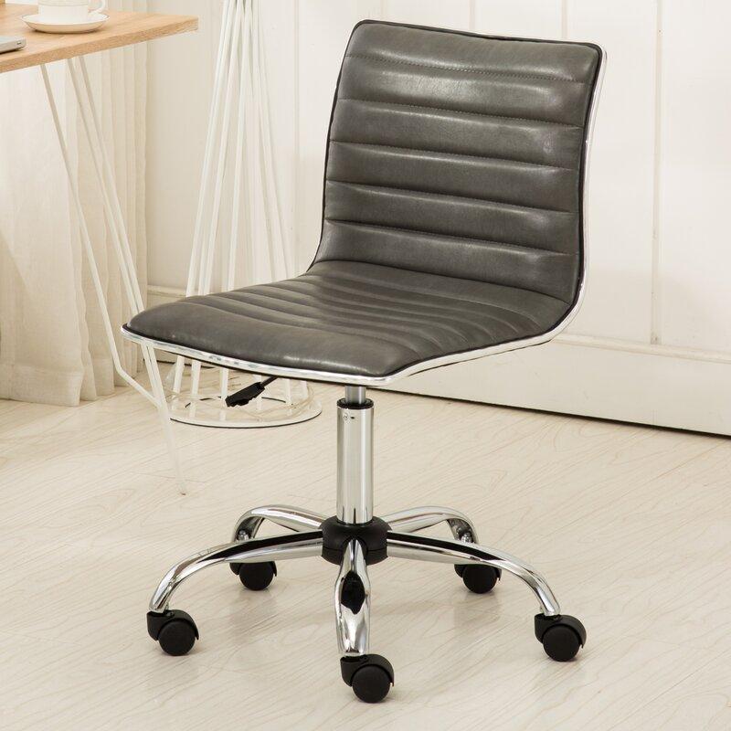 Penkridge Chrome Adjustable Air Lift Office Mid-Back Desk Chair