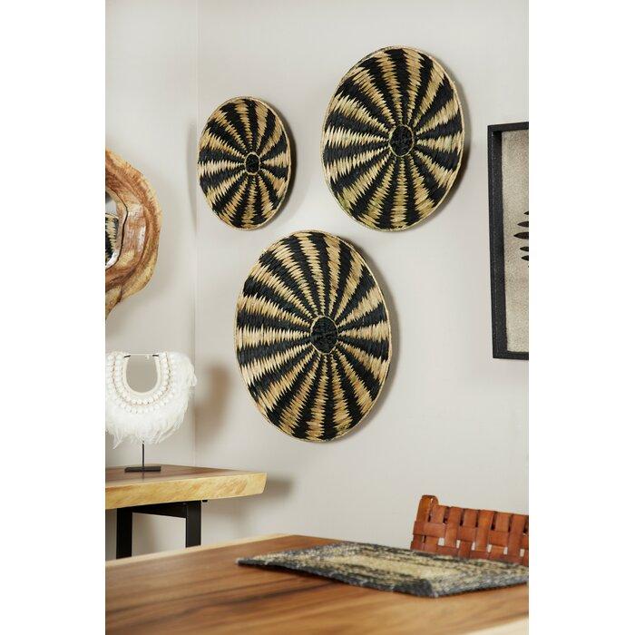 3 Piece Striped Circular Rattan Tray Wall Décor Set