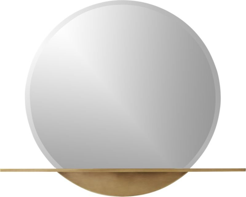 Perch Round Mirror with Shelf