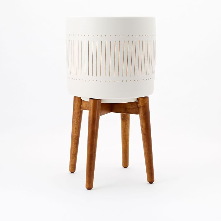 Mid Century Turned Wood Leg Planter, White + Gold, Tall